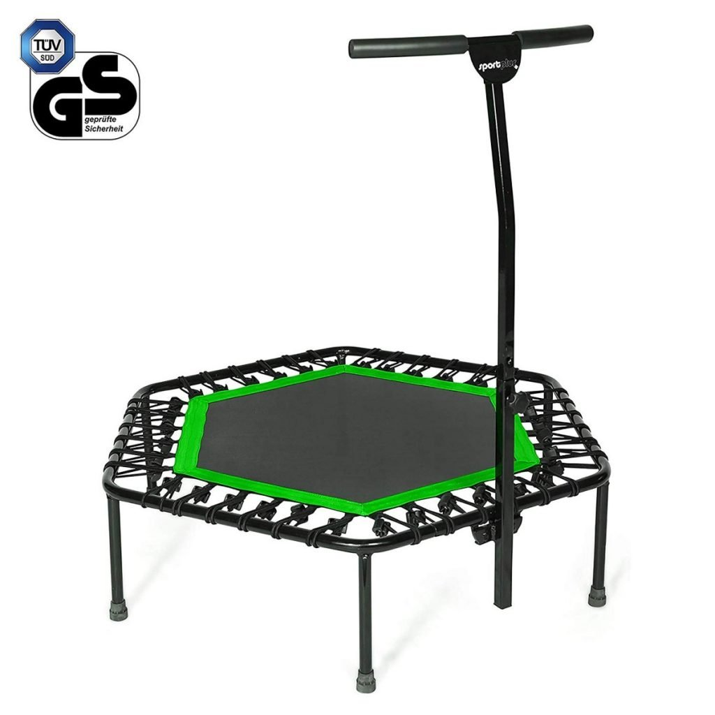 Sportplus Silent Fitness Mini Trampoline with Adjustable Handrail Bar